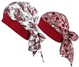 Ababalaya Women's Wide Elastic Band Floral Polka Dots Long Tail Bandana Chemo Turban,Group 1(2pcs)