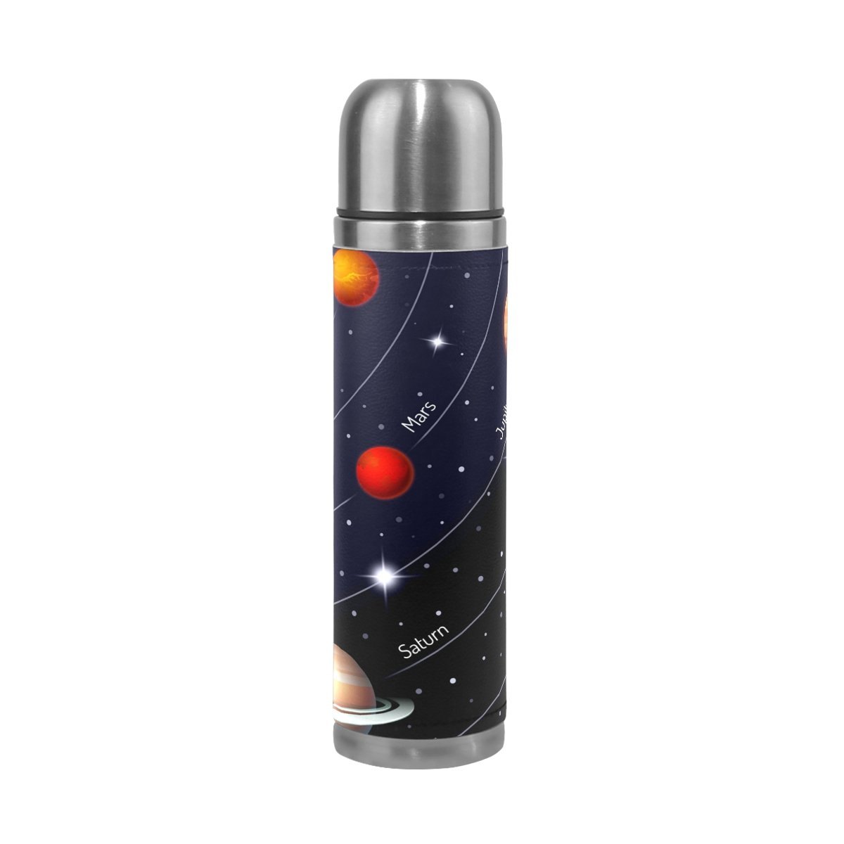 LORVIES Educational Colorful Solar System Stainless Steel Thermos Water Bottle Vacuum Insulated Cup Leak Proof Double Vacuum Bottle, PU Leather Travel Thermal Mug,17 oz