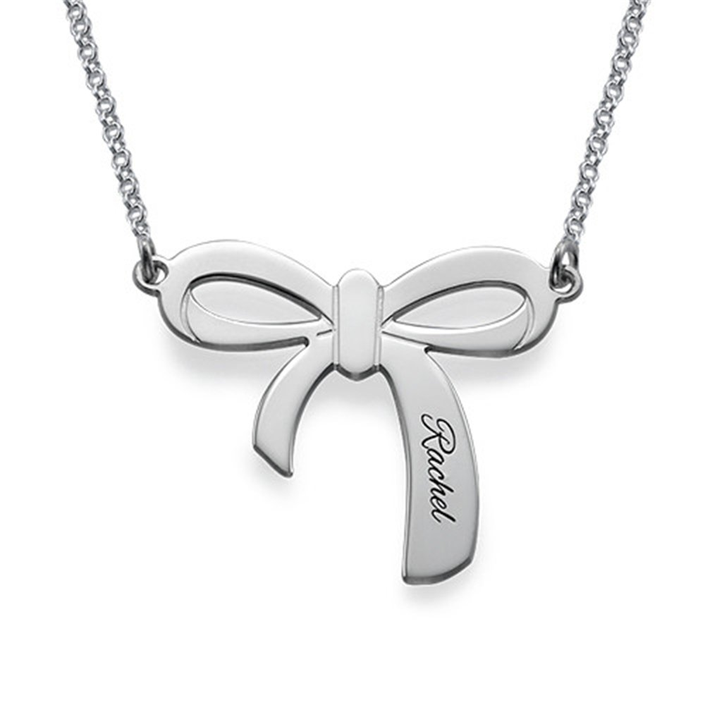 Necklace Pendant Custom Personalized Bow Necklace Pendant Christmas Gift Birthday Present