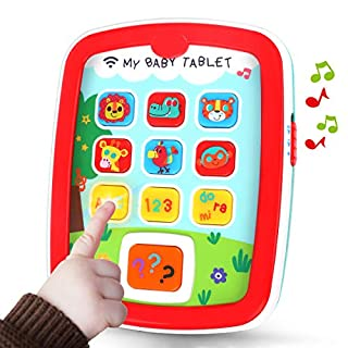 GILOBABY My Baby Tablet with Music & Light, Learning Education Interactive Tablet Toy iPad for Numbers, Alphabet, Animals and Colors, Gift for Infants Toddlers Kids Age 6 Months+
