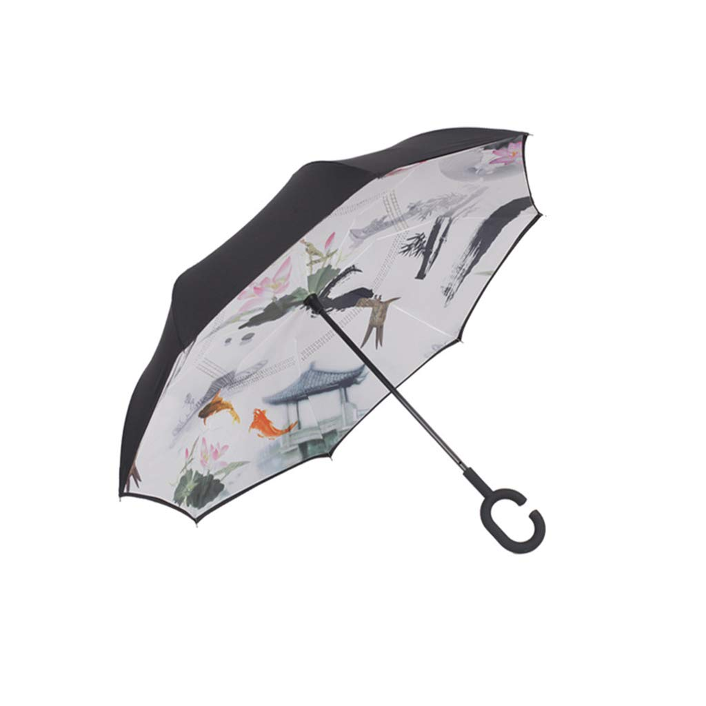 Umbrella Zi yue ju Double-Layer Windproof Reverse Folding, C-Shaped Handle, Suitable for Outdoor car