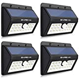 SHINE HAI Solar Lights Outdoor, Wireless Motion Sensor Wall Lighting, Waterproof Security Light for Patio, Garden, Yard, Deck, Garage with Dusk-to-Dawn Photocell, 4-Pack