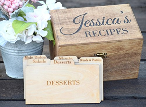 Personalized Recipe Card Box - Personalized Gift - Rustic Home Decor - Recipe Holder - Recipe Box - Recipe Card (Baby Shower Recipe Card)