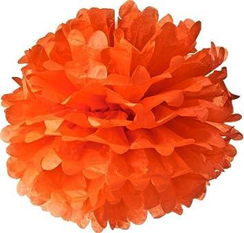orange tissue paper pom pom flowers 10 3 pack harvest autumn - Halloween Pom Poms