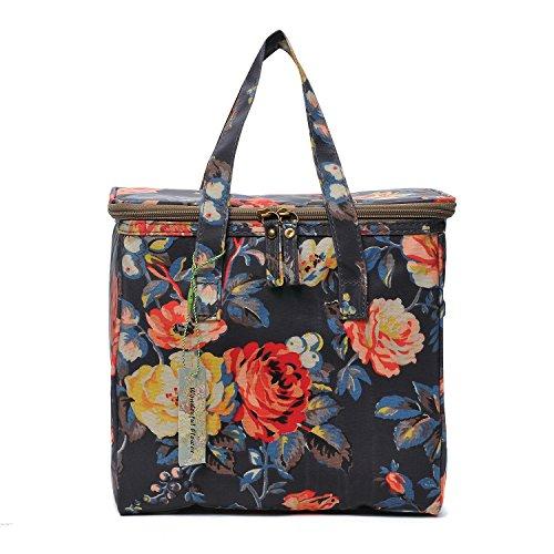 WONDERFUL FLOWER Medium lunch bags for women Insulated Picnic Bag lunch Box Bag (G01 Dark Navy)