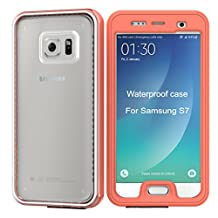 Samsung Galaxy S7 Waterproof Case [New Version] IP68 Waterproof Snowproof Dirtpoof Shock Resistant Protective Case Cover with Viewing Kickstand Fingerprint Recognition Touch ID for Galaxy S7 (orange)