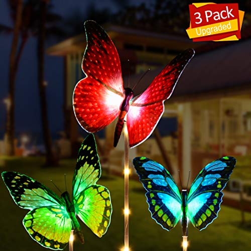 Outdoor Solar Garden Lights, Aockis 3 Pack Solar Stake Light with Fiber Optic Butterfly Decorative Lights,Multi-Color Changing LED Solar Lights (Red Yellow Green) (Ornaments Light Solar)