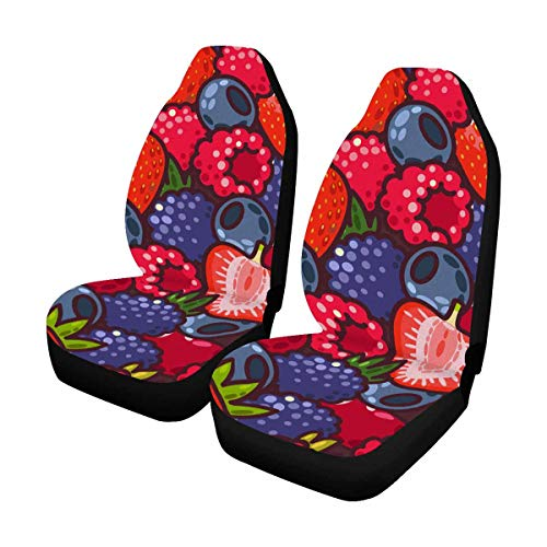 (INTERESTPRINT Colorful Berries and Peppermint Auto Seat Covers Full Set of 2, Bucket Seat Protector Car Seat Cushions for Car, SUV, Truck or Van)