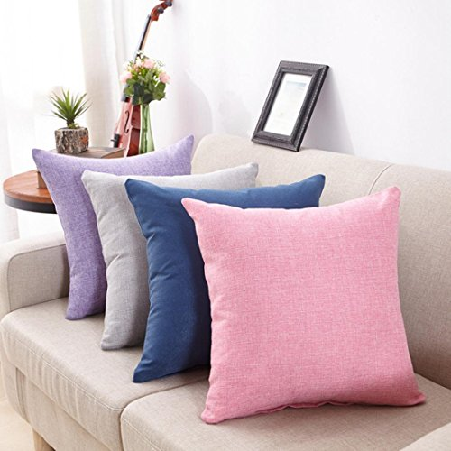 Hemlock Square Pillow Covers, Solid Square Pillow Cases Headrest Covers Sofa Cushion Covers (Pink)