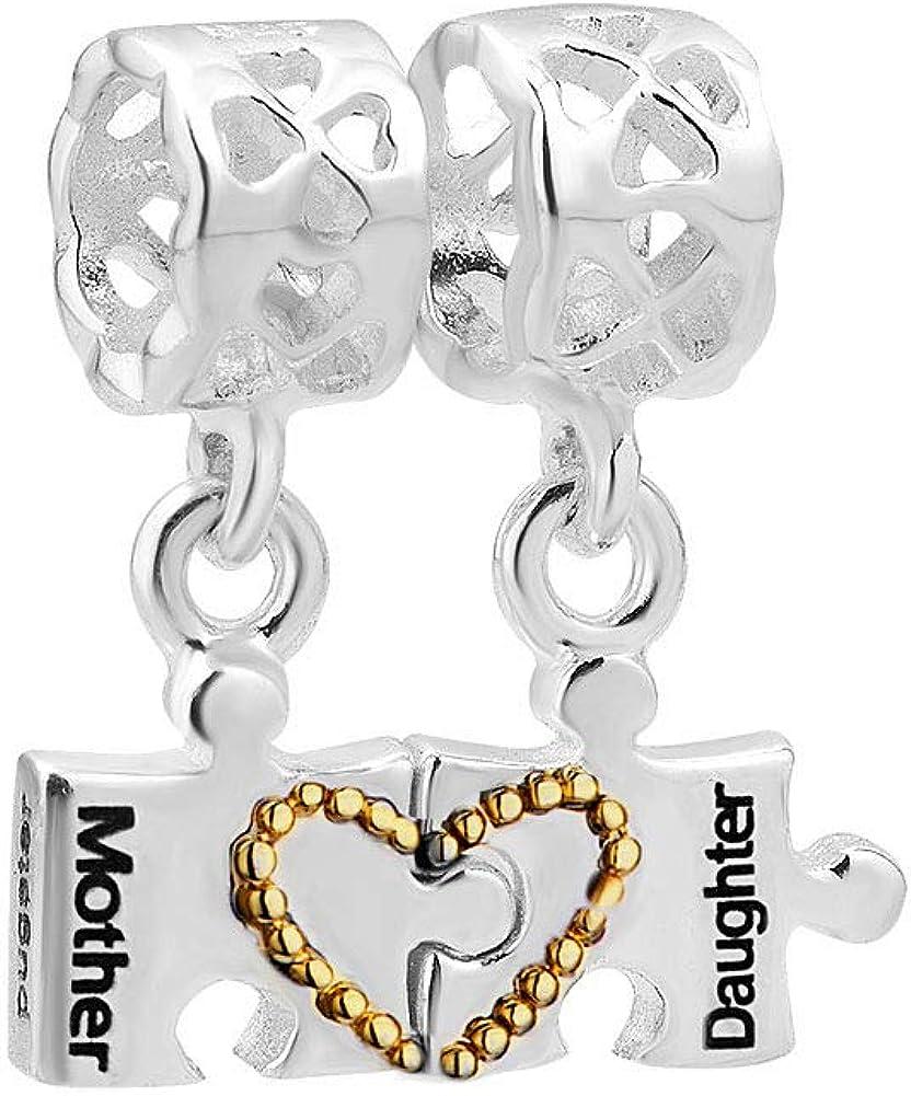 Poetic Charms Corazón Madre amor Hija 925plata de ley Puzzle perlas Charm Collar para pulseras