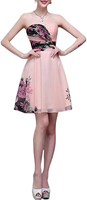 ZLDDE damska sukienka z szyfonu, elegancka sukienka maxi, kwiaty, bez rękawÓw, długa sukienka, sukienka koktajlowa, bez ramiączek, krÓtka: Odzież