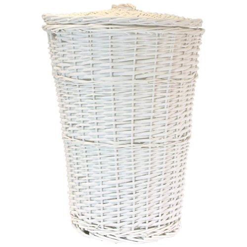 Redmon Round Willow Hamper, White (Willow Laundry Basket White)