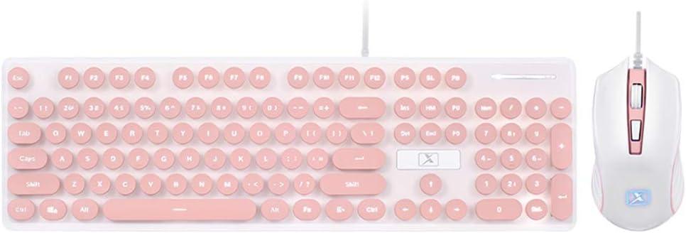 LexonElec Wired USB Keyboard Mouse Combo Gamer N518 104 Keys White LED Backlit Punk Keycap Ergonomic Pro Gaming Keypad + 1600DPI 4 Buttons Optical Game Mice for Laptop PC (Pink & White Light)