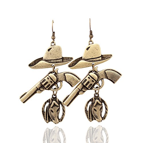 Gold Plated Western Cowgirl Vintage Hat Stetson Gun Revolver Horse Horseshoe Rodeo Charms (Horse Charm Rodeo)