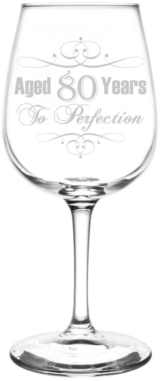(80th) Aged To Perfection Elegant & Vintage Birthday Celebration Inspired - Laser Engraved 12.75oz Libbey All-Purpose Wine Taster Glass