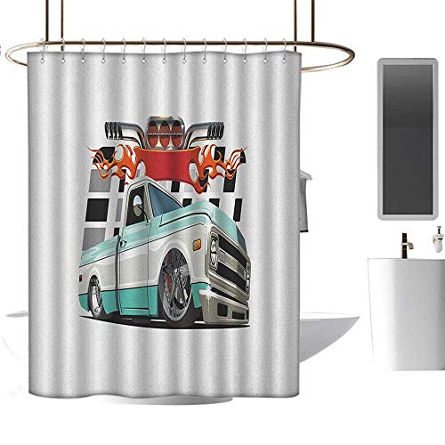 MKOK Striped Shower curtain54 x72 Truck,Lowrider Pickup with Racing Flag Pattern Background Speeding on The Streets Modified Multicolor,Graphic Print Polyester Fabric Bathroom Decor Sets