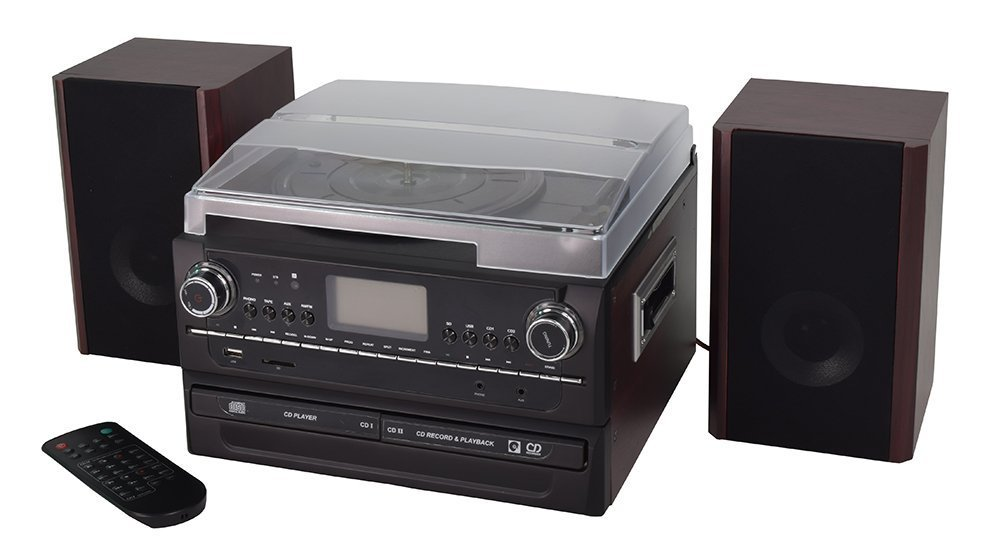 Turntable Record Player with Stereo Speaker , Vinyl to MP3 Converter with Twin CD-R/RW, Cassette, Radio, Aux in and USB Encoding, Remote Control