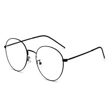 eb32b7ab71749 Hzjundasi Rétro Des lunettes pour Femme et Homme Lentille claire Métal Rond  Cadre Lunettes Anti-fatigue UV400  Amazon.fr  Vêtements et accessoires