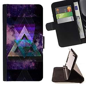 Dragon Case- Mappen-Kasten-Prima caja de la PU billetera de cuero con ranuras para tarjetas, efectivo Compartimiento desmontable y correa para la mu?eca FOR LG OPTIMUS L90- Triangle Space
