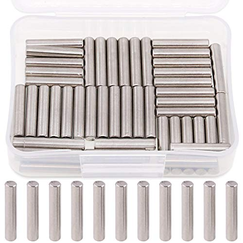 Rustark 50-Pcs 5x25mm Stainless Steel Dowel Pin Shelf Support Bracket Pegs Cabinet Furniture Shelf Pins Support Pegs Pin Rod Fasten Elements ()