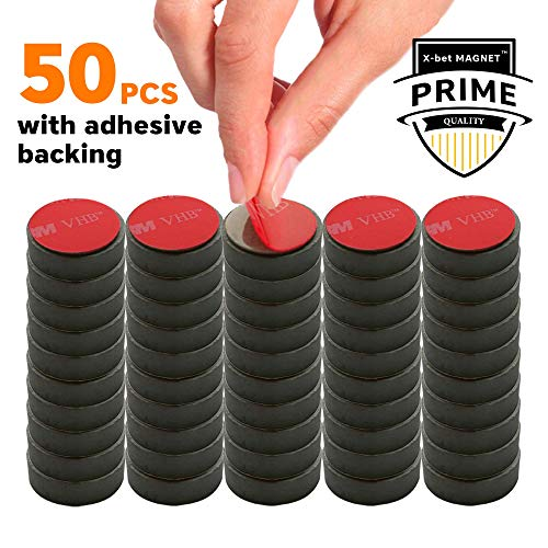 Adhesive Ceramic Magnets – 0.709 Inch (18mm) Round Disc Magnets – Strong Sticky Back – Circle Magnets Ideal for Craft, DIY, Kitchen, Science, Refrigerator, Fridge – 50 PCs Self Adhesive Tiny Magnets