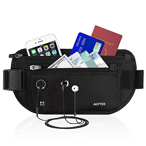 AGPTEK Hiking Waist Packs, Fanny Pack Money Belt with RFID Blocking, Adjustable Water Resistant Running Belt Bumbag for Men Women Traveling for iPhone Samsung Cards Money Passport