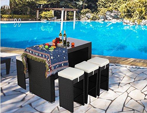 Do4U 7 PCS Rattan Wicker Bar Table Stool Dining Set Patio Garden Outdoor Furniture (Expresso-9010)