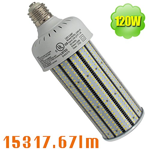 NUOGUAN 6 Pack 400W Metal Halide Flood Light Replacement 120W Pc Cover Corn Lights LED Mogul Base Bulb E39 Cool White 6000K 15317 Lumens 100-277Vac for Outdoor Security Lighting by NUOGUAN