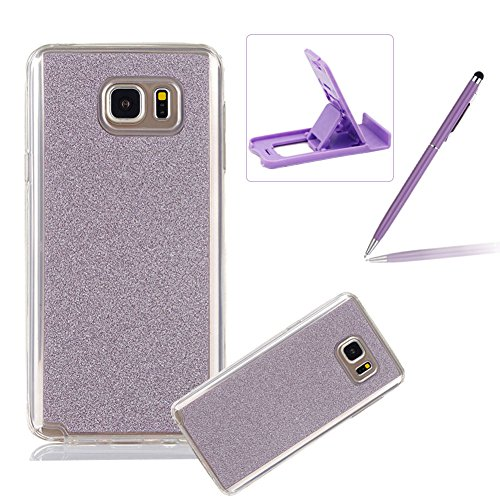 Cover for Samsung Galaxy Note 5,Rubber Case for Samsung Galaxy Note 5,Herzzer Super Slim [Purple Gradient Color Changing] Dust Resistant Soft Flexible TPU Bling Glitter Protective Case