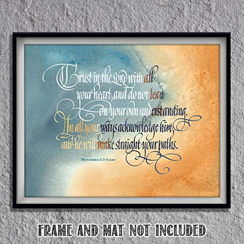 TRUST in the Lord With All Heart- Proverbs 3:5-6. Bible Verse Wall Art-10 x 8- Scripture Wall Art- Ready to Frame. Home Décor, Office Décor-Christian Gifts. Perfect Reminder To Have - 5 Wall Heart Hanging