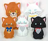 Penny's Boutique Cat Family Finger Puppet Set - Daddy Cat, Mama Cat and 3 Kitten Finger Pup