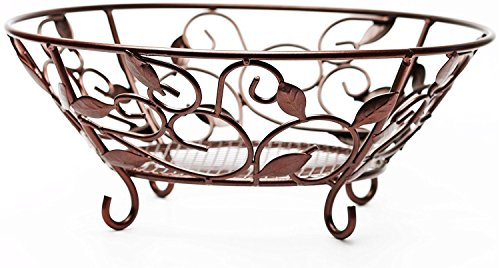 (Circleware 00728 Matt Bronze Metal Fruit Dessert Bowl with Leaf Design, 12.25