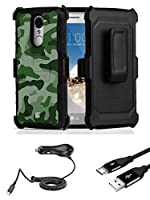 LG Aristo 2 | Tribute Dynasty | Rebel 3 - Accessory Bundle: Shockproof Belt Holster Kickstand Case, (1,100 mAh Power Output) Car Charger, Micro USB Cable and Atom Cloth