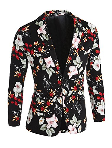 uxcell Men Casual Floral Print Single Breasted Long Sleeve Blazer Jacket Black Red Light Green XL(US ()