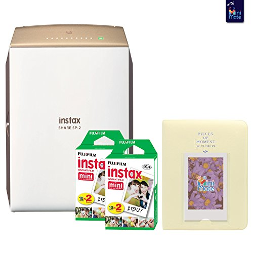Fujifilm instax SHARE SP-2 Smartphone Printer (Gold) With Fujifilm instax Mini Twin Pack Instant Film (40 Sheets) + Fashionable Photo Album by MiniMate