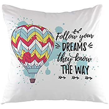 oFloral Hot Air Balloon with Retro Card Follow Your Dreams They Know The Way Throw Pillow Case Square Cushion Cover for Sofa Couch Bedroom Decoration 18 X 18 Inch Blue Black Red