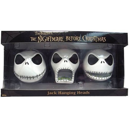 Amazon Com Nightmare Before Christmas Jack Hanging Heads 3 Count Ornament Set Home Kitchen