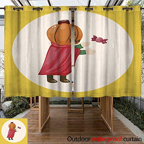RenteriaDecor Outdoor Balcony Privacy Curtain Halloween Party Costume Theme Elements W108 x L72 ()