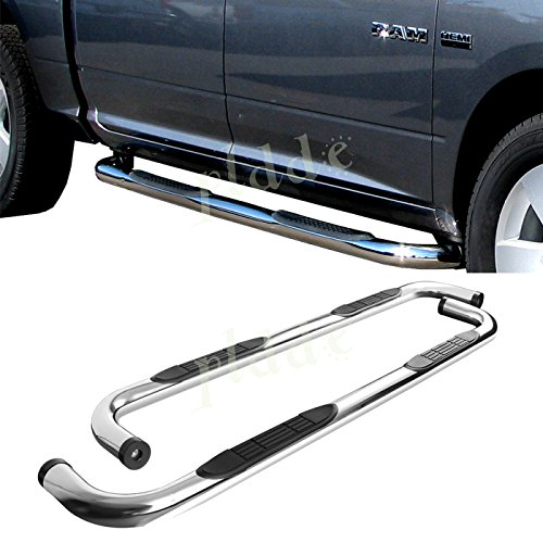 "PLDDE 2pcs 3"" Round Tube Chrome Stainless Steel Side Step Nerf Bars Running Boards + Brackets + Installation Instruction Fit 09-18 Dodge Ram 1500 Extended/Quad Cab With Small Size Rear Doors"