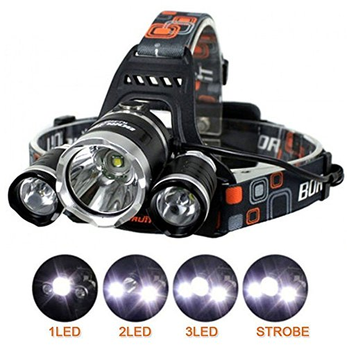 LED Headlamp Camping Headlamps Ultra Bright 3xCREE XM-L T6 LED Focus Waterproof Headlight Rechargeable Batteries Headlamp Flashlight for Hiking Camping Climbing Cycling Fishing Hunting Security Light