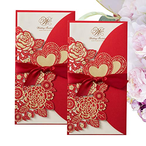 - Gold Fortune 20 Packs Laser Cut Quinceanera Wedding Invitations with RSVP Cards Kit and Envelopes for Party Favors (CX075 Red)