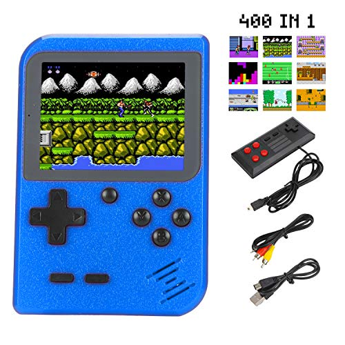 """Sefitopher Mini Retro Handheld Game Console 400 Classic Games Portable Game Console 3"""" LCD Screen TV Output Support for Connecting TV & 2 Players 800mAh Rechargeable Battery Gift for Kids Adult (Blue)"""
