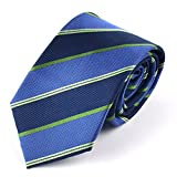 mens blue green ties - Qobod striped necktie for men tie silk striped tie navy sage green blue neck ties gift box