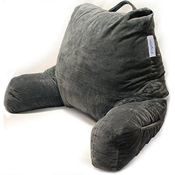 Twill Navy Bedrest Reading Arm Pillow Back