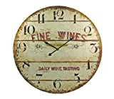 FINE WINES Barrel Motif 23 Inch Diameter Wall Clock