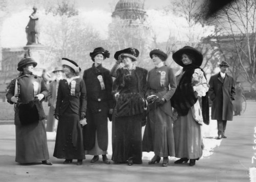 Suffragettes at capitol: Mrs. Russell McLennan, Mrs. Aletha Taft, Louise Bridges, Mrs. Richard Coke Burleson, Alberta Hill, F. Ragsdale Vintage 8x10 Photograph - Ready to Frame