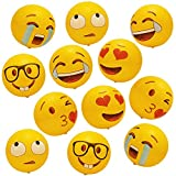 Geefuun 12 PCS Emoji Inflatable Beach Balls Pool Party Toys Supplies Birthday Game Favors (12'')