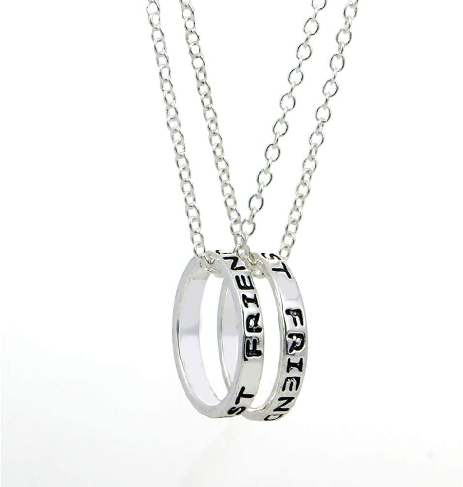 EQLEF alean el Anillo Simple de la Plata Mejores Amigos Forever el Collar de la Amistad - el Collar del Regalo de la Amistad / 2 PCS