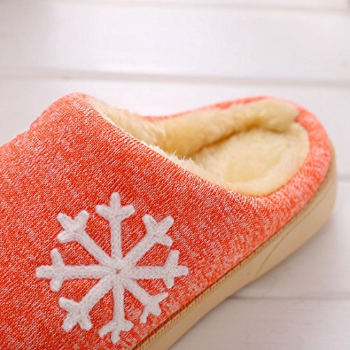 Gillberry Women Men Christmas Soft Slippers Indoor Shoes Faux Fur Warm Slippers Orange