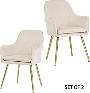 GOLDEN BEACH Velvet Dinning Chair Set of 2 Mid-Back Accent Chair Modern Leisure Armchair with Gold Plating Legs Upholstered Living Room Chair (Beige)